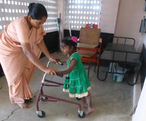 Children are given help with their physical disabilities, often on a one-to-one basis.
