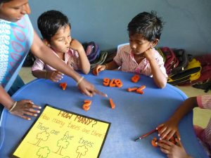 Children learn in both English and Tamil, as English provides them with opportunities for the future.